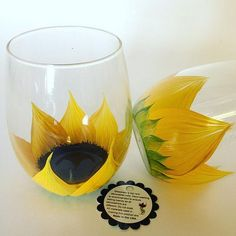 Stemless sunflower wine glasses | by judipaintedit