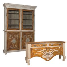 This unique French country style sideboard is finished in antique taupe with Americana finished doors and top, plus a hand-painted taupe cartouche design on the front. Shop French Country sideboards now. Painted Sideboard, Painted Furniture, Furniture Sets, Antique Hardware, Antique Metal, Cabinet Space, China Cabinet, French Country Style, Dining Area