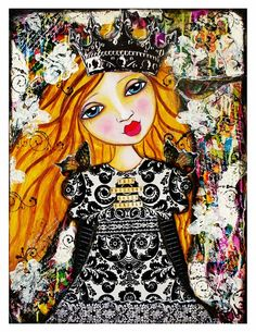 This Princess Saves Herself Fine Art Print of Mixed Media painting