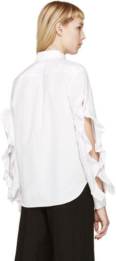 Toga: White Flounce Sleeve Shirt | SSENSE
