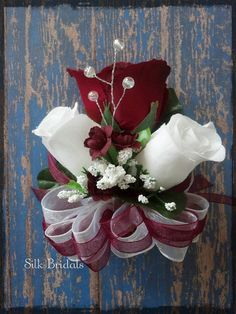 Burgundy White Roses pinon Corsage Wedding Bridal by SilkBridals, $5.99