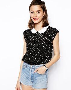 ASOS Petal Collar Sleeveless Blouse in Spot Print