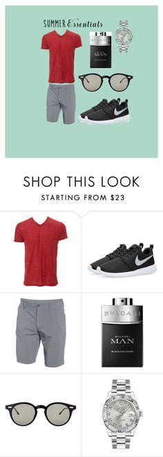 """Summer Essentials Menswear"" by queenkrishidesai ❤ liked on Polyvore featuring NIKE, Under Armour, Bulgari, Thom Browne, Rolex, men's fashion, menswear and summermenswearessentials"