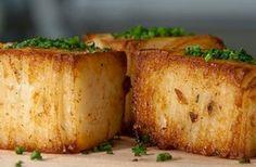 Ad Hoc Potato Pavé Recipe - creamy, with crisp, crunchy edges. A thyme, garlic infused cake of potato goodness Chef Recipes, Potato Recipes, Vegetable Recipes, Cooking Recipes, Savoury Recipes, Veggie Dishes, Side Dishes, Potato Pave, Chef App