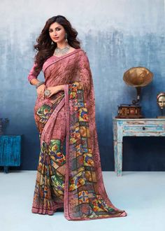 You will be confident to make a strong style statement with this Stylish Pink Georgette Casual Printed Saree. Beautified with Printed work all synchronized very well with the design and style and desi. Latest Designer Sarees, Latest Sarees, Indian Bridal Sarees, Indian Beauty Saree, Art Silk Sarees, Georgette Sarees, New Saree Designs, Saree Sale, Celebrity Gowns