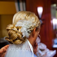 Crystal and Feather Hairpin - LOVE THIS - theknot.com