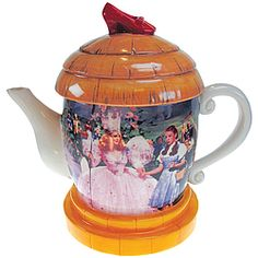 Enchanting collectible 26-oz. ceramic teapot captures the scene from The Wizard Of Oz, when Dorothy meets the Good Witch.