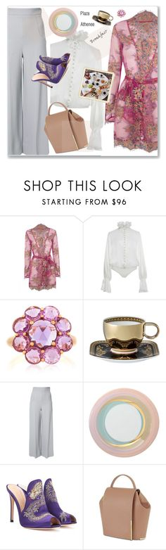 """Hotel Breakfast"" by nantucketteabook ❤ liked on Polyvore featuring Agent Provocateur, Jonathan Simkhai, Bayco, Versace, Roland Mouret, Fürstenberg, Gianvito Rossi, Onesixone, travel and breakfast"