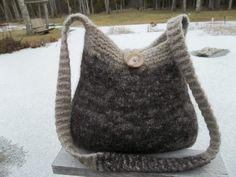 111060 hanknitted felted wool purse tote by esthermaycreations, $35.00