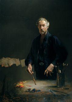 "David Leffel - Self-Portrait ""Enigma""  http://brightlightfineart.com/david-a-leffel/  #leffel #paintings #portraits"