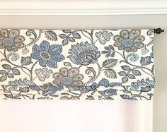 Faux Roman Shade/ Jacobean Floral Mock Valance/ Fake Roman Shade/P.Kaufmann Finders Keepers French Blue/ Custom Sizing Available! Faux Roman Shades, Premier Prints, Valance Curtains, Valance Ideas, Kitchen Curtains, Cafe Curtains, Hanging Curtains, Ribbon Colors, Curtain Rods