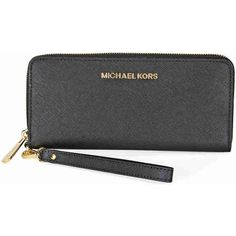 Michael Kors Jet Set Tavel Leather Continental Wallet - Black ($107) ❤ liked on Polyvore featuring bags, wallets, michael kors bags, leather wallets, leather billfold wallet, leather billfold and michael kors wallet