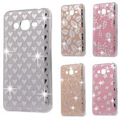 Fashion Slim Glitter Phone Case for Samsung Galaxy J2 Prime Grand Prime Plus SM-G532F Bling Heart Star Thin  Cover Coque Y64