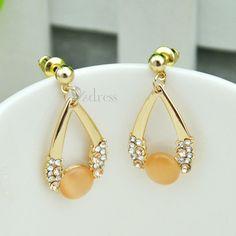 [USD $3.49] Elegant Women's Opal Alloy Drop Earrings on Zdress.com