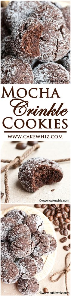 These soft MOCHA CRINKLE COOKIES have a rich chocolate and coffee flavor and crispy, sugary tops! Also, great for gift-giving or just snacking! From m&utm_campaign=buffer Crinkle Cookies, Brownie Cookies, No Bake Cookies, Cookie Desserts, Yummy Cookies, Cake Cookies, Cookie Recipes, Cupcakes, Coffee Cookies