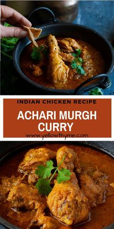 Achari Murgh Curry Recipe - Easy to make, Authentic Indian Chicken Curry with Pickling Spices, lime or Mango Pickle and Yogurt Easy Chicken Recipes, Easy Dinner Recipes, Easy Meals, Chicken Recepies, Recipe Chicken, Dinner Ideas, Indian Food Recipes, Asian Recipes, Healthy Recipes