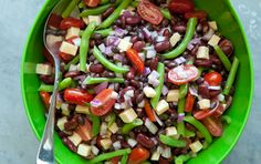 This hearty sweet-and-savory bean salad gets a uniquely delicious layer of flavor from rich and tangy Gouda cheese. Beans tend to absorb flavors as they sit, so always taste the salad just before you serve it and add more salt, pepper or vinegar a little at a time if the flavor needs perking up.
