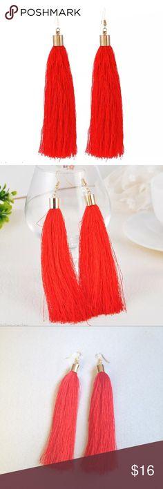 Red Tassel Earrings NWOT red tassel earrings. Jewelry Earrings
