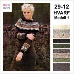 29-12 HVARF Modell 1, Kjole - Garnmani.no - Spesialist på islandsk ull Ravelry, Beige, Knitting, Sweaters, How To Make, Scrapbooking, Black, Dresses, Fashion