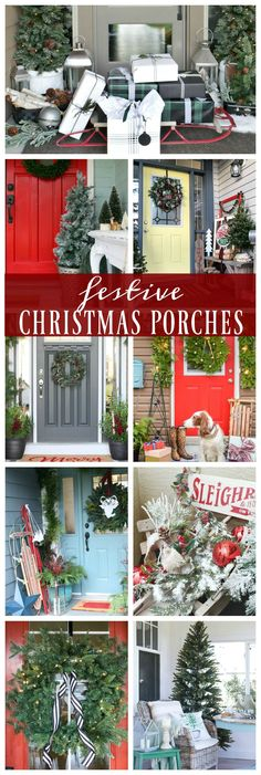 Looking for festive outdoor Christmas decorations? We're loving this front porch Christmas decor; from a bright red door to bottle brush trees, so cute!