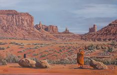 """A few years ago, I was in Monument Valley and saw a group of monks experiencing this sacred American place. The image has stayed with me for years. Raven regards Monk; Monk regards you through the lens of a camera, and you all exist in a place which remains unflappably detached from human histrionics. The benign detachment of the landscape of the American Southwest is food for my artist's soul. 24""""x36""""x1.5"""" Acrylic on Ampersand/ Available"""