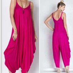 ❗️SALE❗️Harem Jumpsuit in Fuchsia Pink Relaxed fit harem jumpsuit made from a blend of 95% rayon and 5% spandex. Made in the USA. 1st pic is the actual item. 2nd and 3rd pics are for reference. Listing is for fuchsia jumpsuit. 🔴PRICE FIRM UNLESS BUNDLED/NO TRADES.🔴💋 Pants Jumpsuits & Rompers