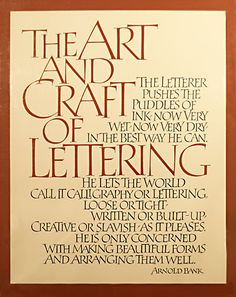 the art and craft of lettering, calligraphy quote