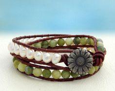 Snow-White... Leather wrap bracelet... Original by OceanBead