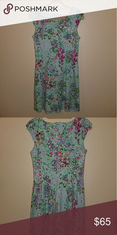 Lilly Pulitzer dress Floral turquoise dress, falls above the knee Lilly Pulitzer Dresses