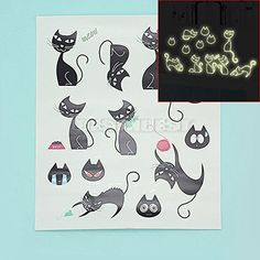 Removable Black Cat Glow In Dark Luminous Fluorescent Wall Decal Sticker Decor >>> Click image to review more details.