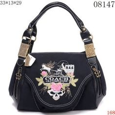 2bf6a8637edd Image detail for -Coach Shoulder Bags Signature Black White line with  Flower COACH Logo .