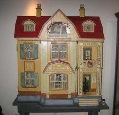 Large Antique German Gottschalk Red Roof doll house c1912