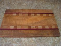 Artisan Crafted Solid Curly Maple Hardwood Cutting Board with Padauk Hardwood and Endgrain Inlay Details, Wedding Gift, Ready To Ship