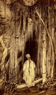 """Into the woods, and the mysterious new year. This is a detail from a sketch for the Russian folktale, """"Vasilisa the Beautiful."""" Vasilisa goes into the wood, to fetch a light from Baba Yaga. Baba Yaga is the famous witch who lives in a hut on chicken legs. Forest Rogers"""