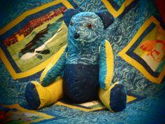 Cousteau the Teddy Bear.  Sea Life Quilt and Teddy by Kathryn G.