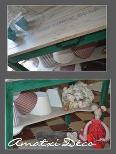 table ancienne relooke avec chalk paint par annie sloan couleur florence et une patine