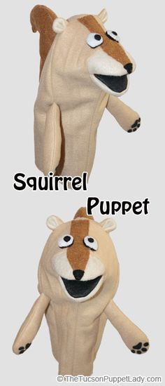 PDF Sewing pattern to make a squirrel hand puppet out of fleece and felt