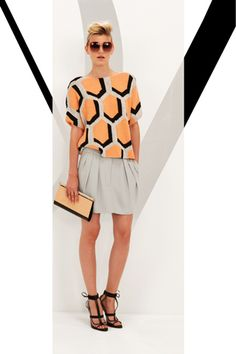 DVF resort '13: beautiful boxy top with pleated skirt