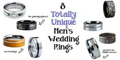 Tired of the same old gold or titanium bands? Here are 8 great options for unique men's wedding rings!