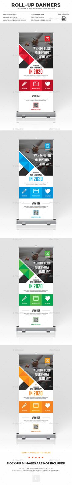 Corporate Roll-Up Banner Ads Design Template - Signage Print Template PSD. Download here: https://graphicriver.net/item/corporate-rollup-banner/17044205?s_rank=42&ref=yinkira
