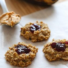 PB&J Healthy Oatmeal Cookies Ingredients 2 medium ripe bananas, mashed 1 cup of uncooked quick oats* 2 tbsp chunk peanut butter 4 teaspoons reduced sugar jelly Preheat oven to 350 F. Spray a nonstick cookie sheet with cooking spray.Combine the mashed bananas and peanut butter in a medium bowl. Add the oats and mix until thoroughly combined. Place batter on the cookie sheet, making an indent with the back of the measuring spoon. Bake 15 minutes Remove from oven and top with 1/4 teaspoon…