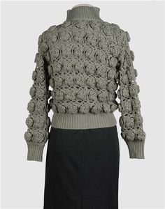 Crochet (puffy flower squares) sweater with diagram