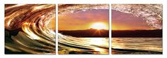 Sunset Swell 48 x 16 inches Ready to Hang Contemporary Art Modern Wall Decor 3 Panel Wood Mounted Giclee Canvas Print A1332 ** Want additional info? Click on the image.