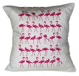 Handmade cushion with a hand screen printed flamingo design. Hand printed in pink using water based environment friendly inks. Design is inspired for my love of flamingos and depicts the birds in a variety of iconic poses.