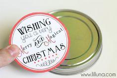 Christmas Printable for the top of a mason jar!