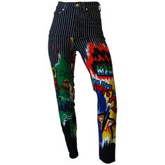 1990s Versace Graphic Graffiti Pinstripe Jeans