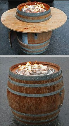 Outdoor Projects, Outdoor Decor, Wine Barrels, Repurposed, Fire, Cool Stuff, Building, House, Ideas