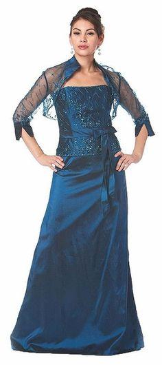 Light Brown Mother of the Bride/Groom Dress Satin With Bolero Jacket ...