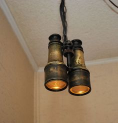 VTG Lemaire Fab Paris Binoculars Hanging Swag Lamp Light Steampunk Repurposed