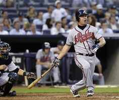 Chipper Jones #10 follows through on a fourth-inning RBI double against the New York Yankees!